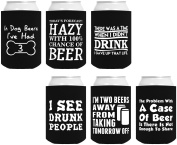 Funny Beer Coolie Gift Bundle Funny Sayings Joke Gag Gifts 6 Pack Can Coolie Drink Coolers Coolies Black