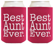 Funny Beer Coolie Best Aunt Ever Gift 2 Pack Can Coolies Drink Coolers Magenta