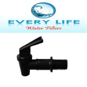 Black Plastic Faucet ~ Spigot ~ Beverage Dispenser ~ Water Crock ~ Water Filter Bucket ~ Made for Gravity Feed ~ BPA Free ~ Made in the USA ~ FDA-Approved ~1.9cm with Washer & Nut