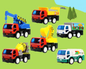 6 Construction Truck Heavy Machinery Engineer Vehicle Push-Go Friction Toy Cars by Poco Divo