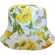 Girl's Floral Rose & Bluebell Bucket Style Summer Sun Beach Hat