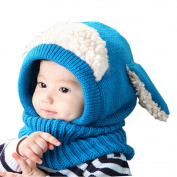 Creative Winter Baby Hat/Cap Durable Warm Cute Woollen Baby Hat with Scarf Blue
