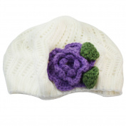 Newborn Baby Girl Infant Flower Crochet Beret Hat Toddler Clothing Accessory