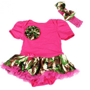 Camouflage Rose Hot Pink Bodysuit Jumpsuit Romper Girl Cloth Baby Dress Nb-18m