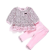 Cute Baby Girls Blossom Ruffle Leopard Bubble Bow Top + Leggings 2pieces Set