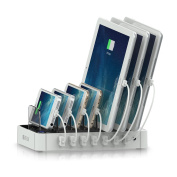 Satechi 7-Port USB Charging Station Dock for iPhone 6 Plus/6/5S/5C/5/4S, iPad Air/Mini/3/2/1, Samsung Galaxy S6 Edge/S6/S5/S4/S3/Note/Note2/Tab, iPod, Nexus, HTC, and more