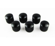 IKN Guitar Bass Knobs Dome Standard Black Steel Metal Pack of 6pcs