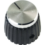 Knob - Black, Silver Top, Set Screw, Marshall Style