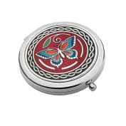 Compact Handbag Mirror - Butterfly Design - RED / AQUA / BLUE - Enamelled Pewterware
