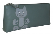 Ciccia Cat Whiskers Leather Make Up Pouch Or Pencil Case - Green