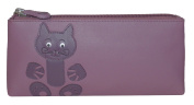 Ciccia Cat Whiskers Leather Make Up Pouch Or Pencil Case - Purple
