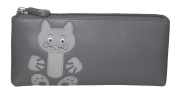 Ciccia Cat Whiskers Leather Make Up Pouch Or Pencil Case - Grey