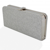 WOMENS CLUTCH BAG GLITTER SPARKLY SATIN SILVER WHITE BRIDAL PROM PARTY PURSE