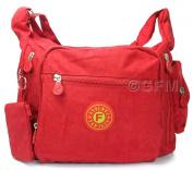 GFM Womens Strong Durable Medium Size Multi Pocket Nylon Fabric Cross Body Bag