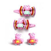 Peppa Pig Bright Carnival Colours Bow Snap Hair Clips Sleepies & Poinios
