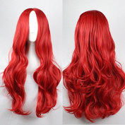 Womens Ladies Girls 75cm Red Colour Long Curly High Quality Hair Carve Cosplay Costume Anime Party Bangs Full Sexy Wigs