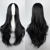 Womens Ladies Girls 75cm Black Colour Long Curly High Quality Hair Carve Cosplay Costume Anime Party Bangs Full Sexy Wigs