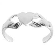 925 Sterling Silver Toe Ring. Claddagh Heart Design Adjustable Band