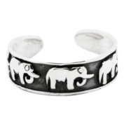 Sterling Silver 925 Adjustable Elephants Toe Ring