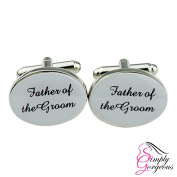 Silver Oval Mens Wedding Cufflinks - FATHER OF THE GROOM
