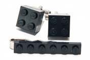 BLACK LEGO TIE SLIDE PIN CLIP AND CUFF LINKS SET GIFT IDEA