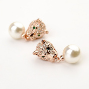 La Vivacita leopard Desire Earrings with. crystal 18ct rose gold plated gift for women and girls