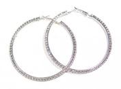 Silver Tone Crystal Diamante Hoop Costume Earrings Gift Bridesmaid Jewellery