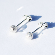 Sterling Silver 925 Frosted Dot Studs+Gift Packaging.