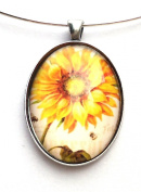 Vintage Style Oval Glass and Silver Pendant on a Silver Collar Choker Necklace