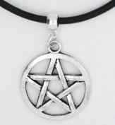 Med/Large Pentacle Pentagram Wiccan Gothic retro Pagan Premium leather choker / chocker / necklace + Made in UK