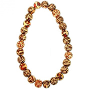 Joe Cool round bead mixed animal prints Necklace bead strand made from wood