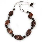 Tribal Brown Wood Bead Cotton Cord Necklace - 80cm L