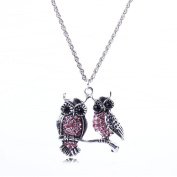 Women New Clear Crystal Owl Cute Animal Bead Tibet silver Chunky Chain Necklace
