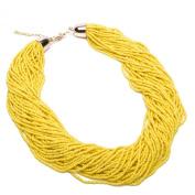 Fashion Hand Made Yellow Resin Mini Beads Chain Choker Statement Collar Necklace