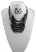 Jays Jewellery - Black and Turquise Seed Bead Multi-Strand Necklace & Earrings Set