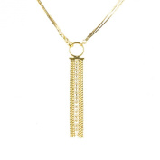 Gold Plated Multi-Strand Y Shape Chain Dangle Necklace With Clear Crystals