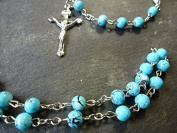 Blue turquoise style 6mm beads glass Rosary beads necklace Christian silver