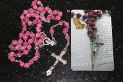 PINK ROSARY BEADS Rosaries Silver Metal Crucifix and Cross & How to Say the Rosary Card