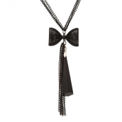 Passionate Long Charcoal Black Multitier Chain Link Necklace Women Jewellery 68cm