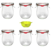 Viva Haushaltswaren - 6 Round Preserving Jars Tulip-Shaped 220 ml with Clips, Rings and A Yellow Filling Funnel with Stop Mechanism