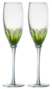 DRH Anton Studios Solar Set of 2 Champagne Glasses Flutes in Green ASD10162