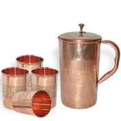 DakshCraft Pure Copper Jug for Health Benefits With 4 Indian Pure Copper Handmade Tumbler Glass
