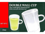 2 x DOUBLE WALL THERMO GLASS LATTE TEA COFFEE CAPPUCCINO CUPS MUGS HEAT RESISTANT 250ML NEW