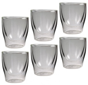 Feelino Bloomino Double-Walled Espresso Glass Set of 6 80ml Thermal Glasses with Floating Effect in Gift Box 6x 80ml