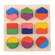 Wooden Geometry Block Puzzle Montessori Educational Preschool Toy Kid Board Game Random Colour