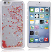 iPhone 6 Case, ISAKEN iPhone 6 Hard Clear Back Case, Unique Design Fluid Liquid Floating Flowing Bling Shiny Sparkle Glitzer Love Heart Crystal Clear Plastic Hard Case Protective Shell Case Cover for Apple iPhone 6 12cm - Love:Red