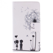 Sony Xperia Z4 Case, Sony Xperia Z4 Wallet Case, ISAKEN Colourful Pattern Pu Leather Magnetic Flip Wallet Case, Pattern Print Printing Drawing Cell Phone Case Mobile Cover Protect Skin Stand Case Cover For Sony Xperia Z4 - Dandelion