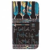 Galaxy E7 Case, Galaxy E7 Wallet Case, ISAKEN Colourful Pattern Pu Leather Magnetic Flip Wallet Case, Pattern Print Printing Drawing Cell Phone Case Mobile Cover Protect Skin Stand Case Cover For Samsung Galaxy E7 E700- Feather and Letters