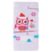 Galaxy A7 Case, Galaxy A7 Wallet Case, ISAKEN Colourful Pattern Pu Leather Magnetic Flip Wallet Case, Pattern Print Printing Drawing Cell Phone Case Mobile Cover Protect Skin Stand Case Cover For Samsung Galaxy A7 SM-A700F- Snow Owl