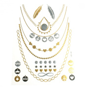 Metallic Tattoos Gold Silver Temporary Tattoo Paper Sheet Pack Necklace Feathers